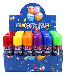 24 Pack of Party Streamer Spray String in a Can Children's K